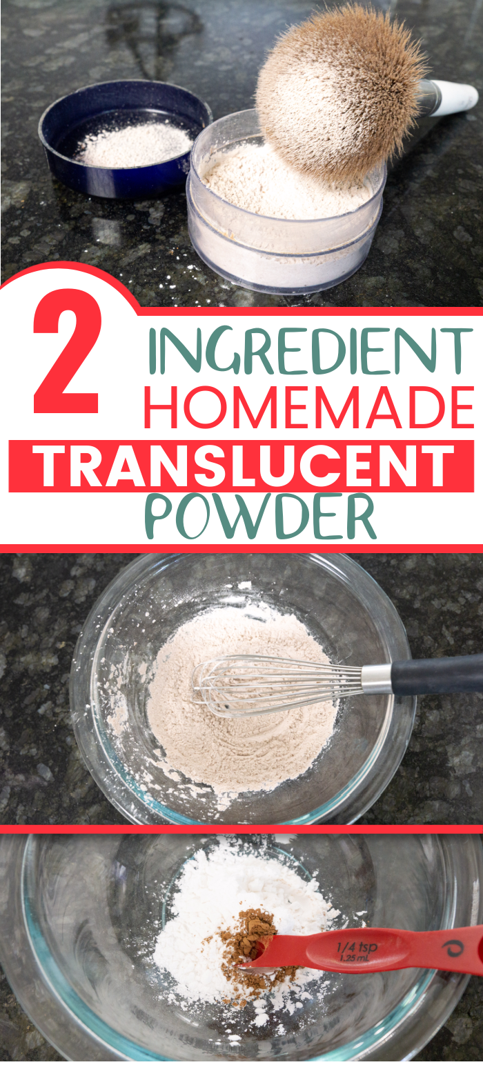 This two ingredient homemade translucent powder is so easy to make (and feels so great!) you'll never go back to store bought ever again!