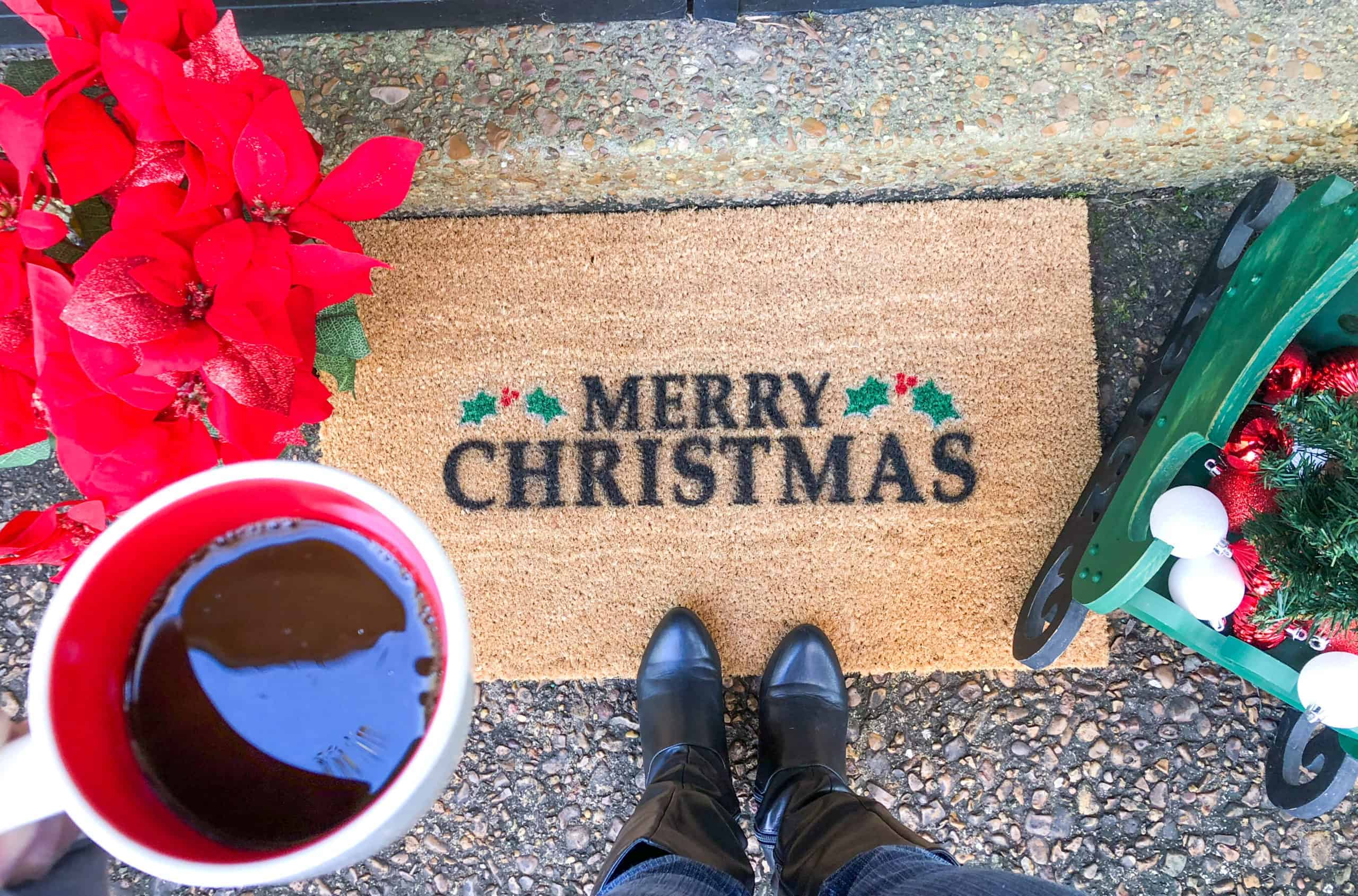 A welcome mat is one of the first things that guests see when entering your home.  So, why not welcome them this season with a festive DIY Christmas doormat?