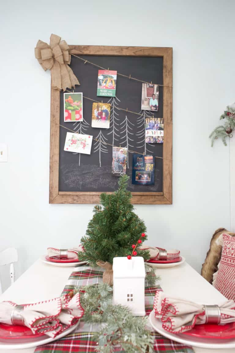 Turn a Large Wall Hanging into a Christmas Card Display