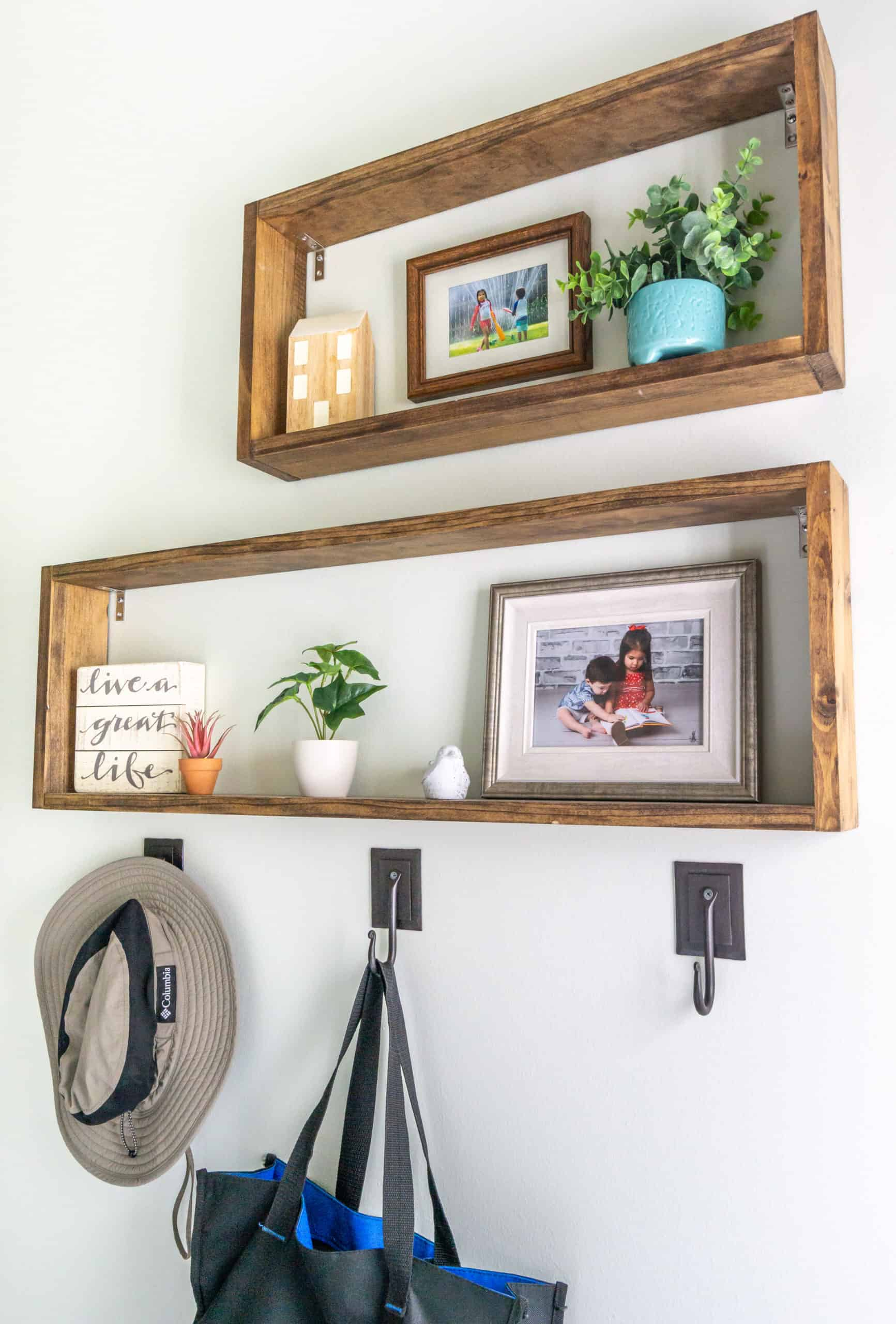 Box shelves are super stylish and so versatile. Here is a step-by-step tutorial for these DIY box shelves. They are so easy to put together!