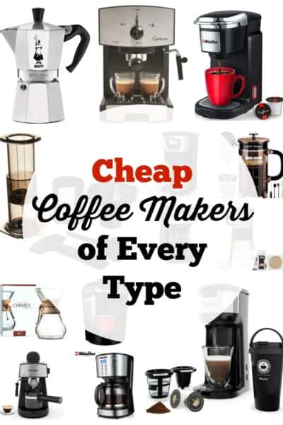 There are many ways to enjoy a great cup of coffee without spending a fortune. Here are a bunch of cheap coffee makers of every type for you.