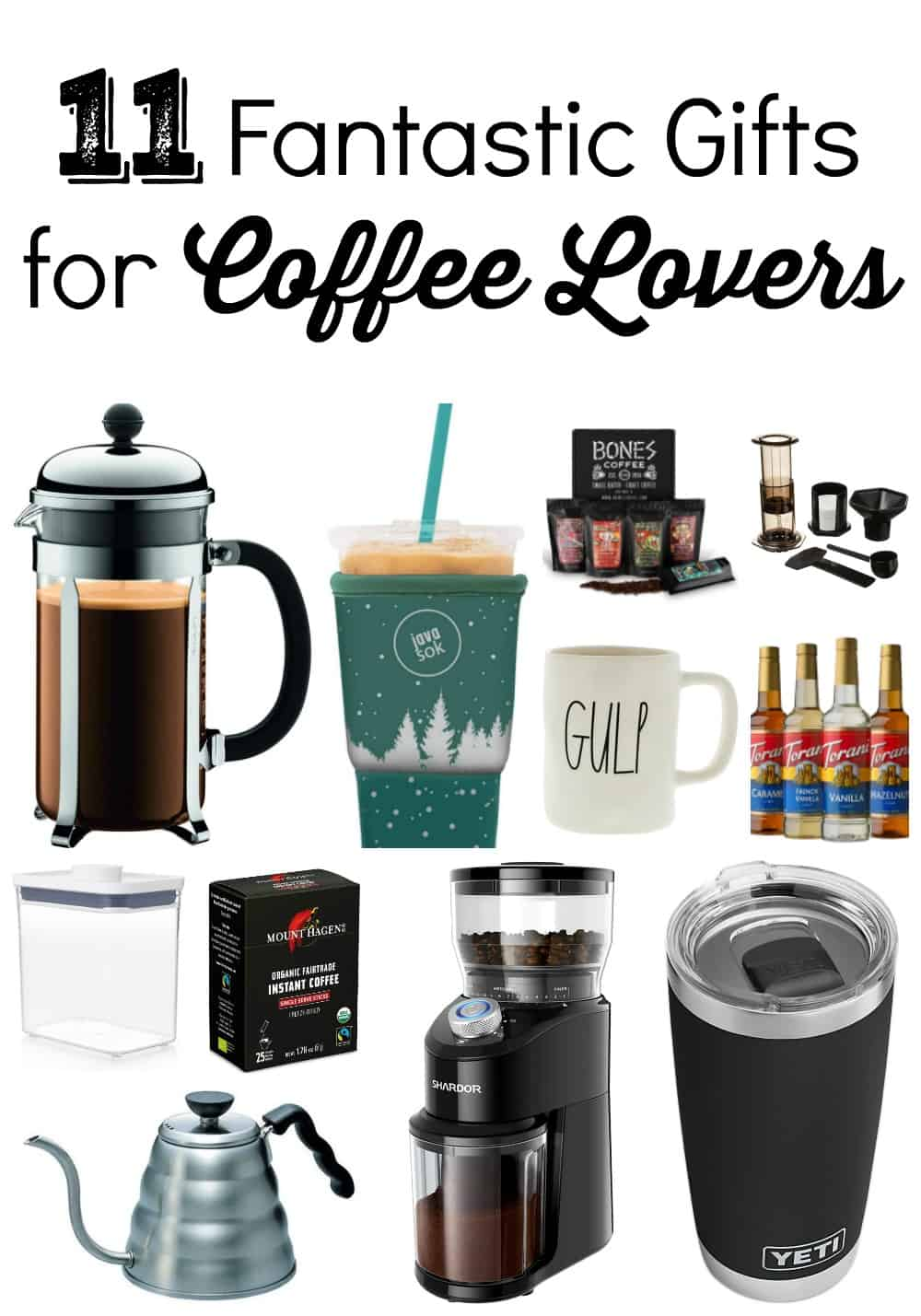 Do you know someone who loves coffee?  If so, here are 12 fantastic gifts for coffee lovers that you'll definitely want to check out!