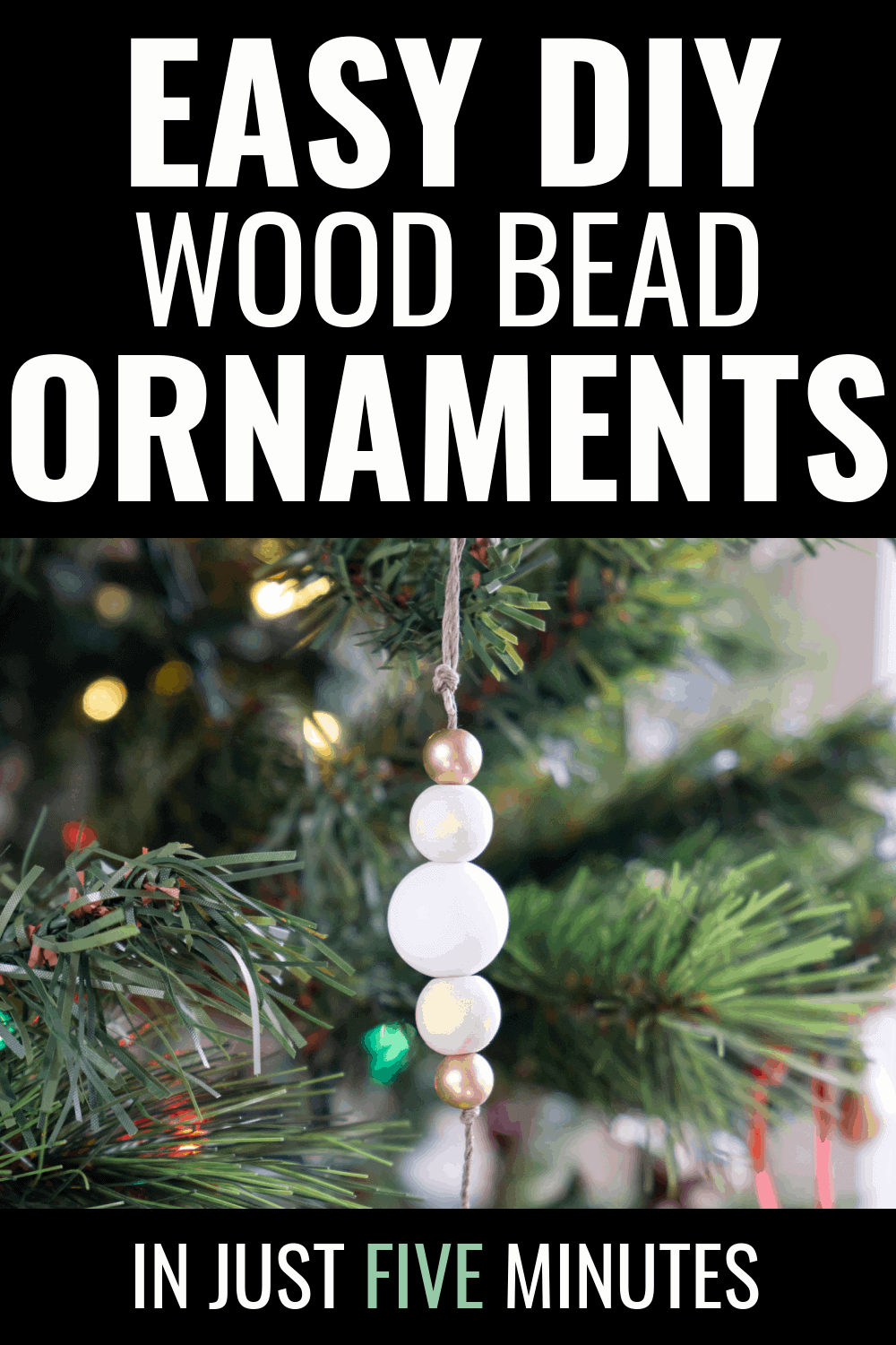 These easy wood bead ornaments were so simple and fun to put together.