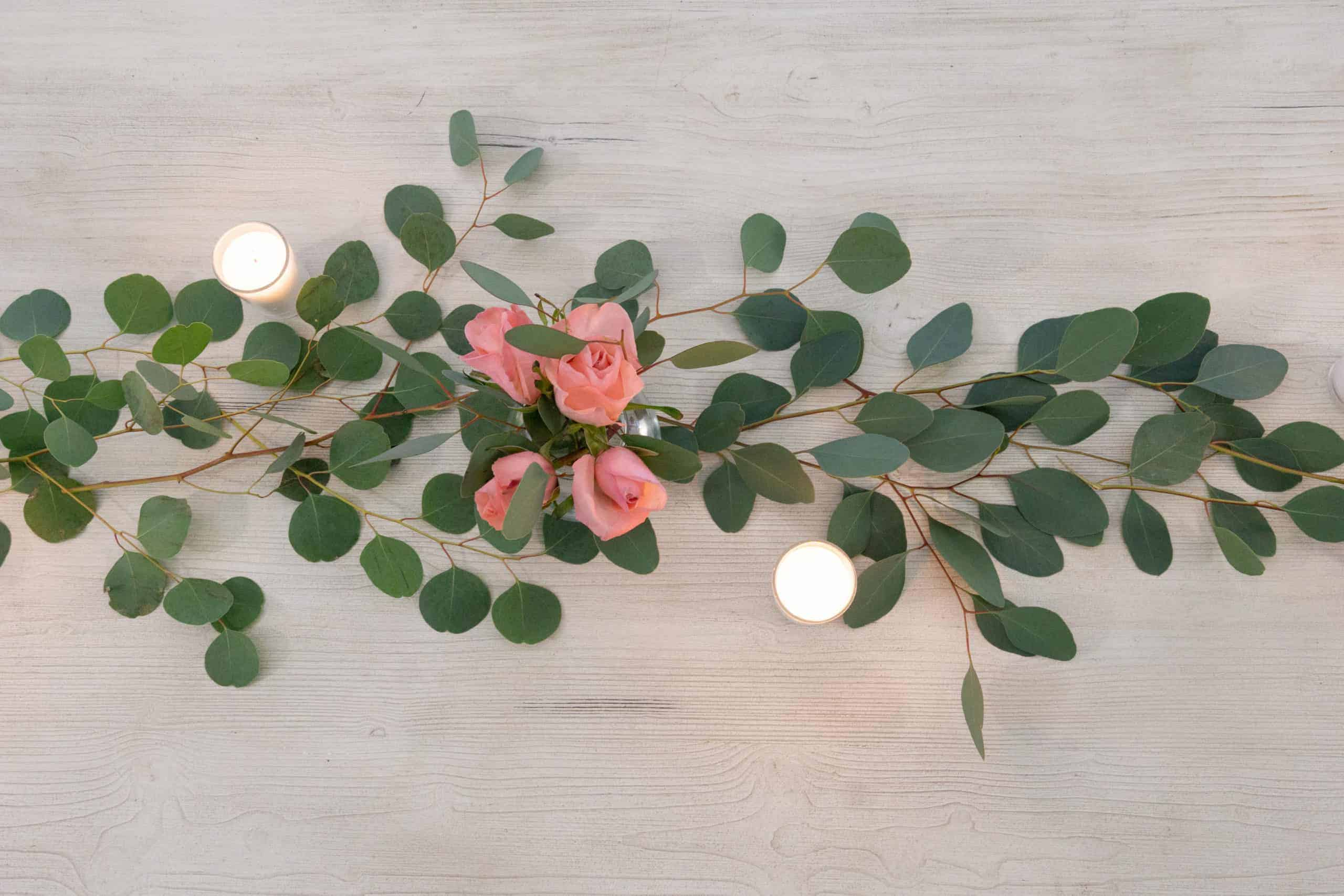 This simple, romantic table runner is so easy. Create a lovely table and set the perfect mood for Valentine's day in just 5 minutes!