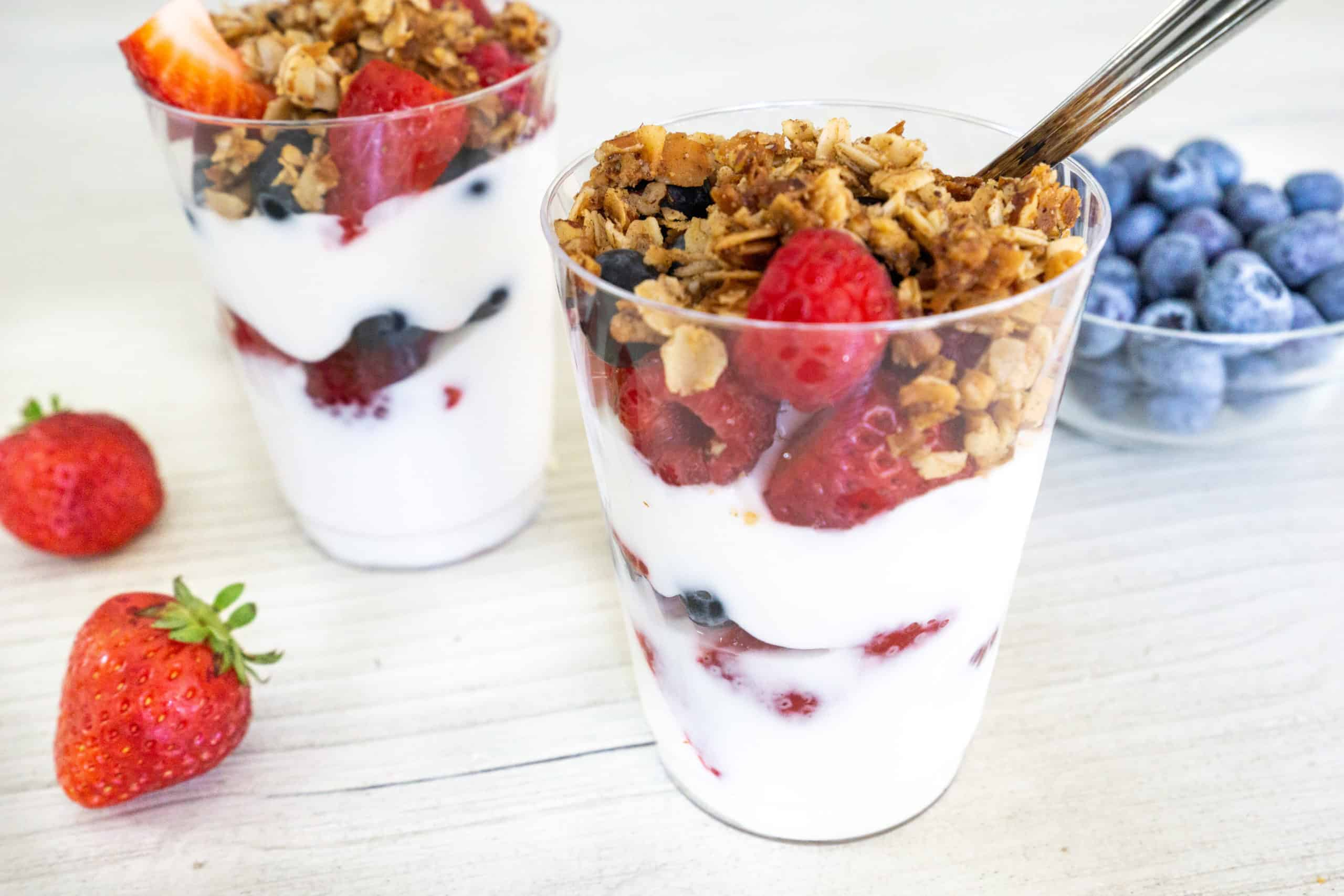 This healthy yogurt parfait is vegan, gluten free, low in sugar, and perfect for the whole family. It is great for breakfast, lunch, or an easy snack.